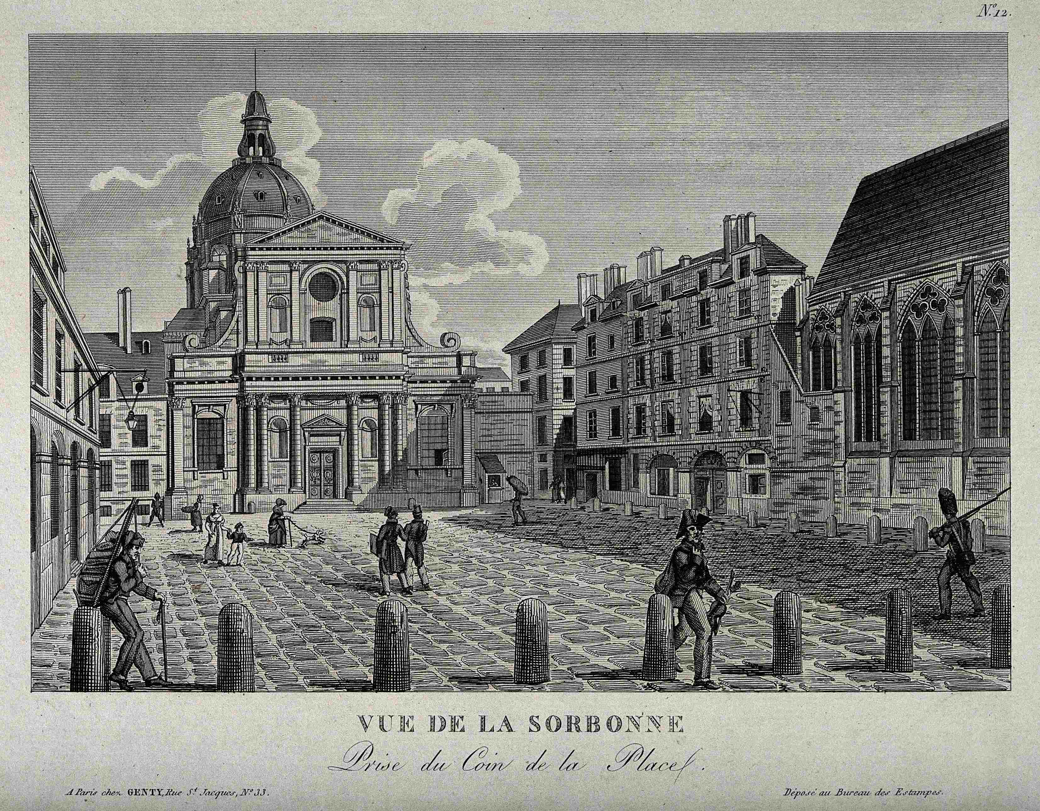 Sorbonne Paris from the corner of the square. Etching. Wellcome V0014344